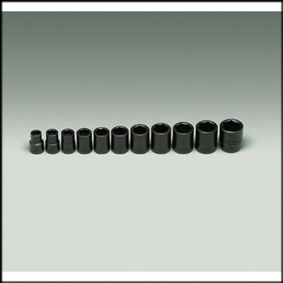 "411 Impact Socket SET with rail 1/2"" DR 11 PC"