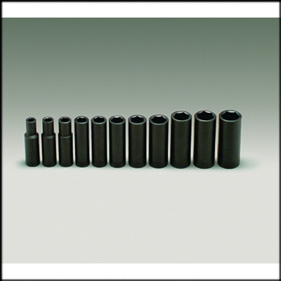 "412 Impact Socket SET W/TRAY 1/2"" 11 PC DEEP IMPACT"
